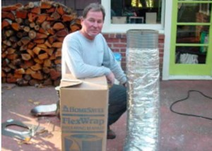 Oval stainless steel chimney liner insulated with U.L. listed homesaver foil face flex wrap